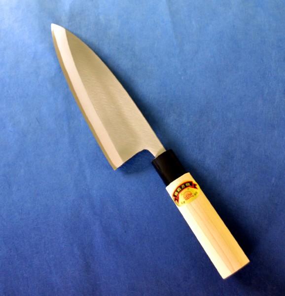 江戸菊水 【左用】出刃庖丁 磨き 165mm 鋼付 黒プラ桂木柄 625406