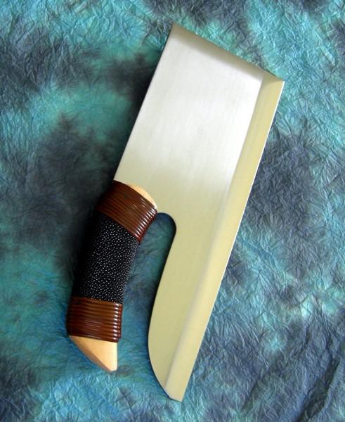 【送料無料】越前数馬作 そば切り包丁 磨き 330mm 鮫皮巻き柄 白紙二号鋼 日本製