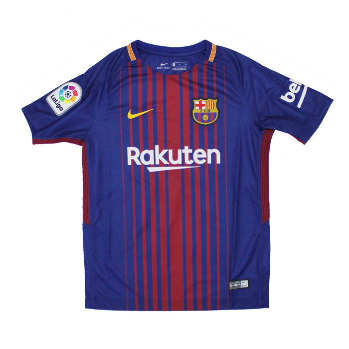 The FC Barcelona 17-18 home short sleeves uniform youth (entering sponsor)