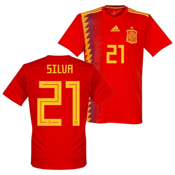 b2e8a5e49 Spanish representative 2018 home short sleeves uniform No. 21 David Silva