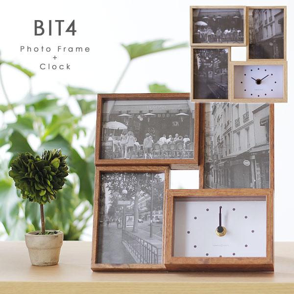 写真立てとアナログ時計のコラボレーション BIT4 ビット4 (訳ありセール 格安) フォトフレーム クロック magnet L版 木製風 シンプル 最安値 ウッド ナチュラル