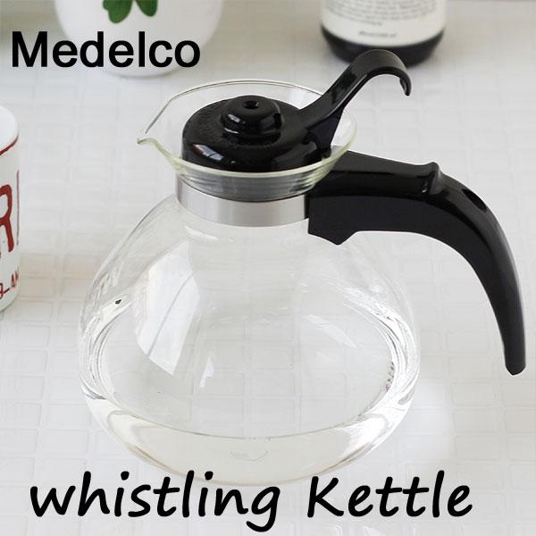 アメリカのMEDELCO社・直火可の耐熱ガラスの笛吹きケトル MEDELCO メデルコ ウィスラーケトル 12cup whistling Kettle【ヤカン コーヒーポット 直火用 ガラス製】