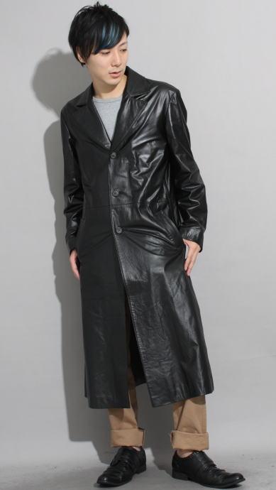 革コート 革ジャン シングルロング 120cm丈 レザーコート
