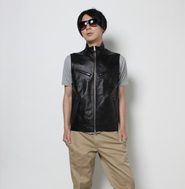 レザーベスト ラムレザー 革ジャン メンズ 革ベスト ブラック 本革 スタンド 黒 レザージャケット フリーダム V-17
