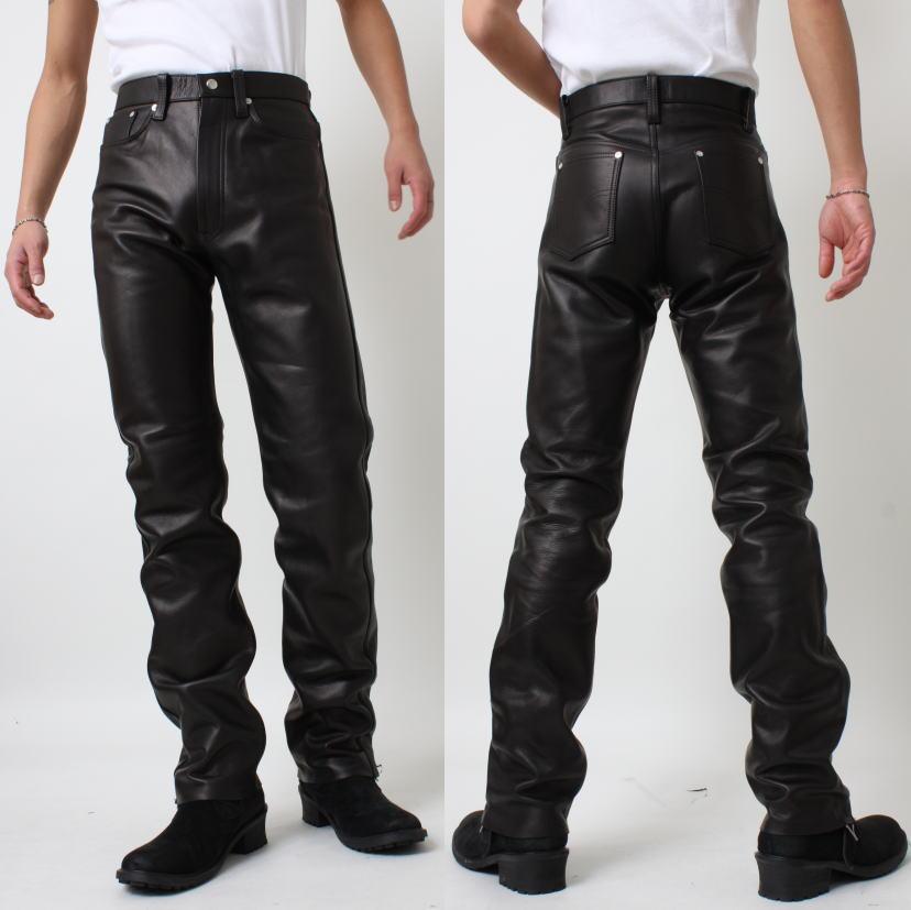 レザーパンツ メンズ 本革 ストレート 革パンツ