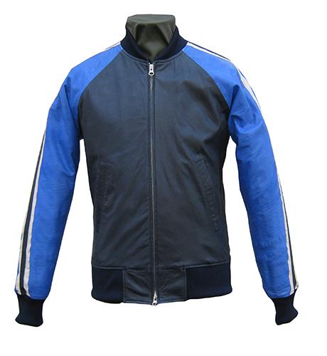 【日本製】革ジャン洗い加工ラグラン切り替え袖ライン入りレザージャケット ブルー