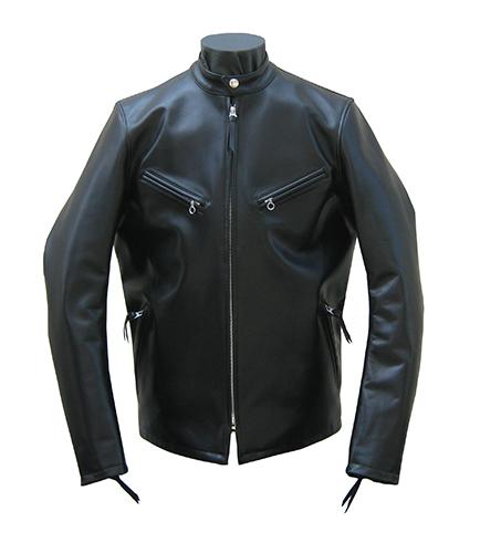 【日本製】革ジャンカウスキンシングルライダースレザージャケット ブラック