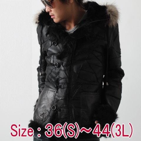 レザージャケット メンズ 革ジャン ブラック ムートンジャケット B-7 フード付き ダブルフェイス 毛皮 送料無料 あす楽 フリーダム 2567