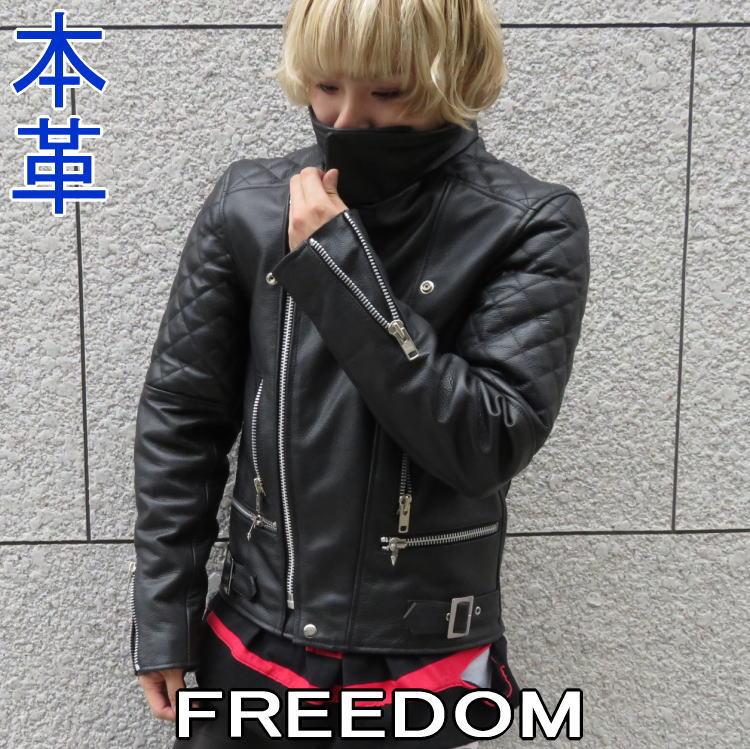 革ジャン メンズ 本革 レザージャケット ハイネック 暖かい ダブルライダース ブラック 黒 M L LL 3L ギフト プレゼント フリーダム 3055