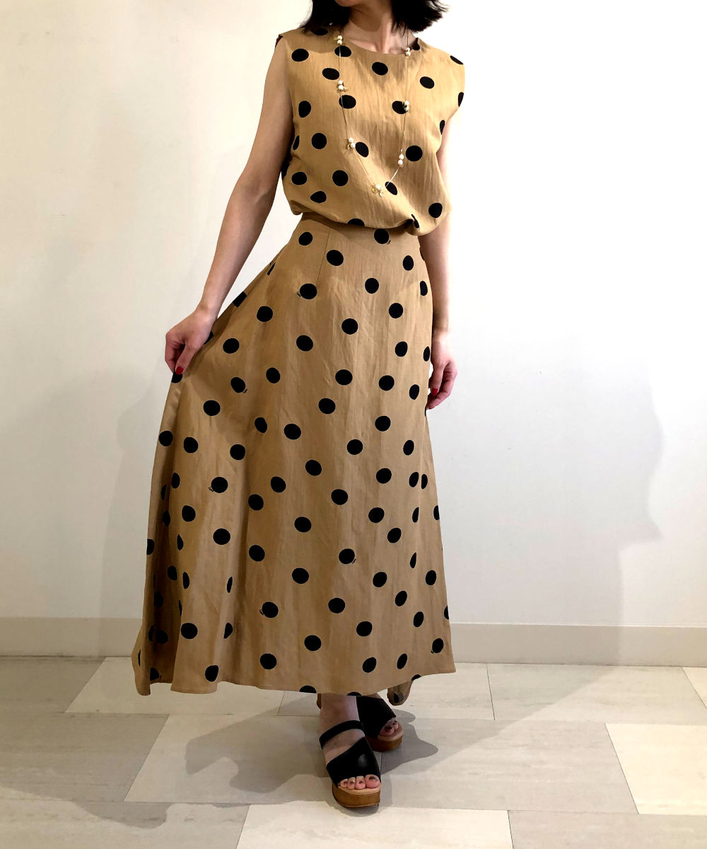 【お買い物するだけ20倍】Liyoca  リヨカ ドットプリントロングスカート【20200429】【D】【T】
