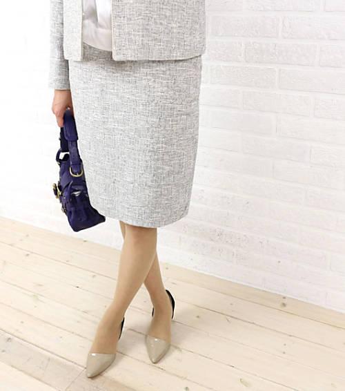 【お買い物するだけ20倍】RICQLE(リクル)コットン リネン 膝丈 スカート・104-7503-1791501【レディース】