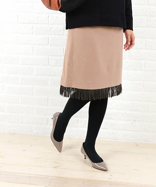 【お買い物するだけ20倍】Dress apt.(ドレスアプト)ウール 膝丈 フリンジ付き タイトスカート・10735-1991502【レディース】
