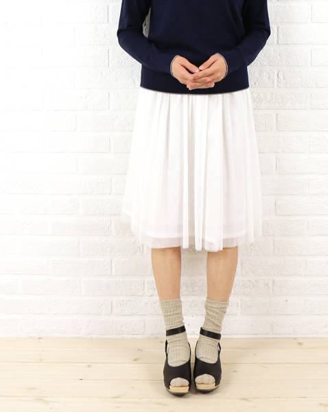 【40%OFF】RICQLE(リクル)ポリエステル チュール ギャザーロング スカート・RI151701-1791501【レディース】