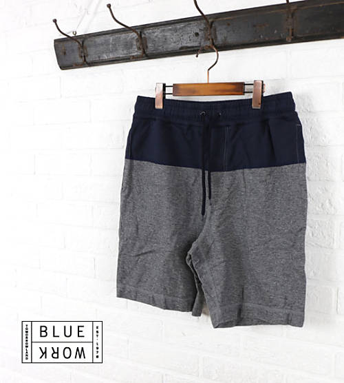 Blue Work(ブルーワーク)コットン 裏毛 配色切替 スウェットショートパンツ・54-12-51-12106-0171501【メンズ】