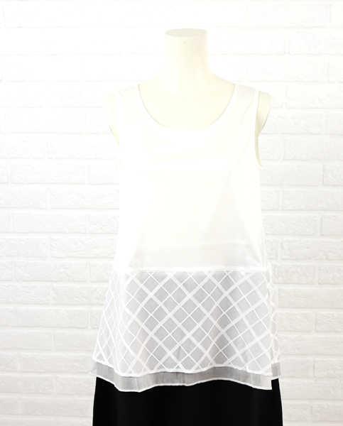 【エントリーで14倍】PUPULA(ププラ)コットン 裾切替 フレア タンクトップ・154056-0141501【レディース】