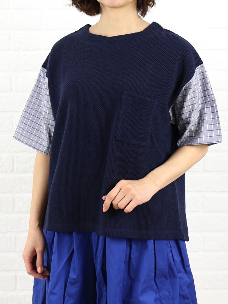 kha:ki(カーキ)コットン 袖布帛切替 プルオーバー SQUARE TEE・MIL-16SCS69-1571601【レディース】