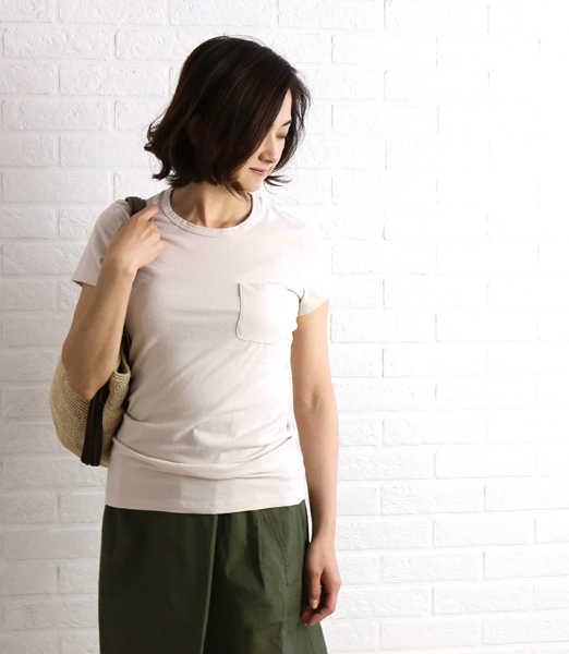 JAMES PERSE(ジェームスパース)綿ポリエステル 半袖 ポケット Tシャツ・WMU3466-0171601【レディース】