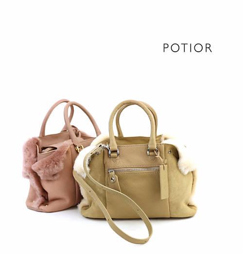 PotioR(ポティオール)ゴートスキン 2WAY ミニ ムートンバッグ DOG'S EAR SMALL・MOG-0062SN-2701702【レディース】
