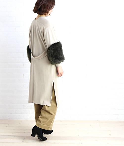 Seadrake(シードレイク)ウール混 袖ファー ロングコート コーディガン・89-1084-0481702【レディース】