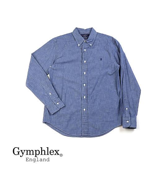 Gymphlex(ジムフレックス)コットンシャンブレー メンズ 長袖 ボタンダウンシャツ・J-0643COD-0321802【メンズ】【JP】【■■】