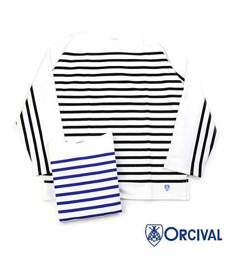 【お買い物するだけ10倍】ORCIVAL(オーチバル・オーシバル)コットン メンズ ラッセルボーダー ボートネック ワイドスリーブ カットソー プルオーバー・6118-0321801【メンズ】【JP】