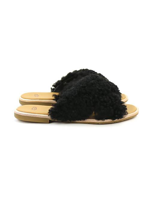 February: UGG (アグ) sheepskin cross strap sandals W JONI
