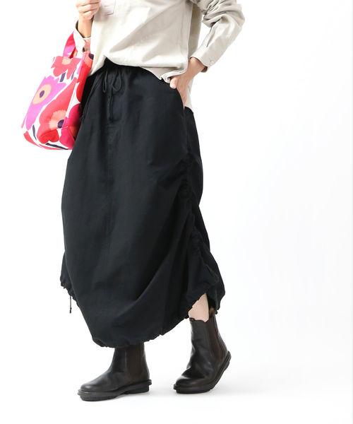【お買い物するだけ20倍】FACTORY(ファクトリー)綿 裾ギャザー入り パラシュートスカート バルーンスカート・S-06-19FW-2711902【レディース】【■■】