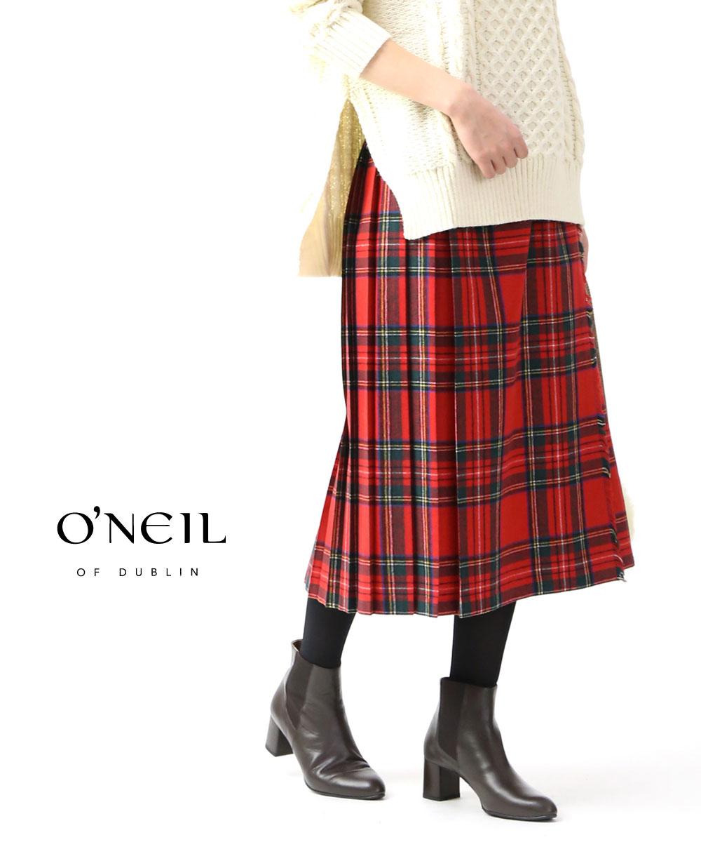 【お買い物するだけ20倍】O'NEIL OF DUBLIN(オニールオブダブリン)ウール混 ロング丈 キルトスカート ラッププリーツスカート・5075-1791902【レディース】【■■】