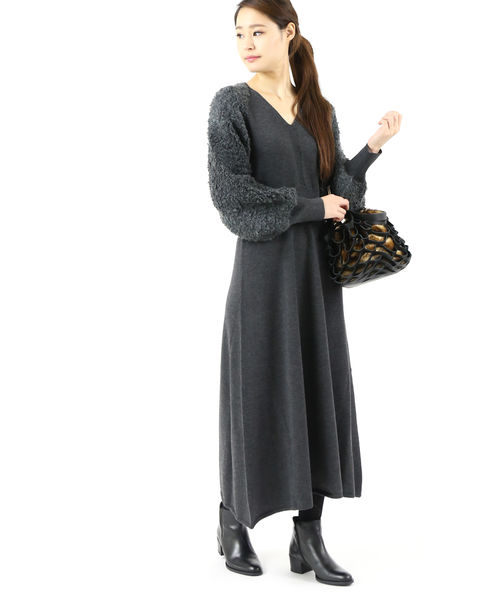 RIM.ARK(リムアーク)ウール混 袖ループヤーン Vネック ニットワンピース Loop yarns knit dress・460CAL73-0170-4201902【レディース】【■■】