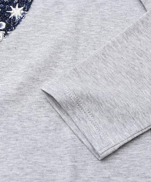 PUPULA(ププラ)フェザーニットスムース スパンコール アップル刺繍 ロングTシャツ・197006-0141901【レディース】【■■】