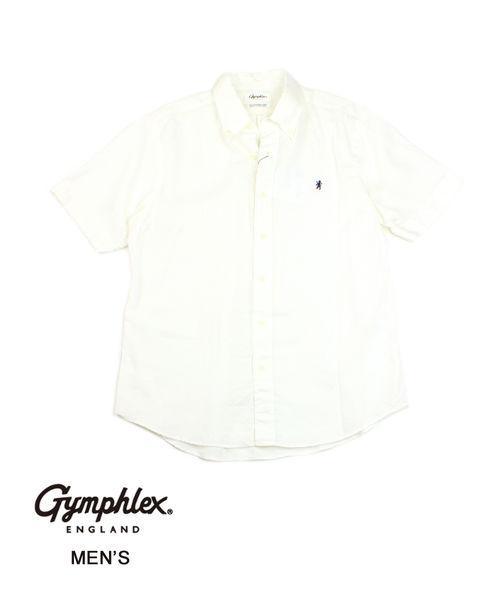 【お買い物するだけ10倍】Gymphlex(ジムフレックス)メンズ リネンクロス ボタンダウン 半袖シャツ リネンシャツ・J-1421KLS-0322001【メンズ】【JP】【■■】