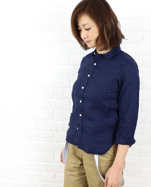 【べネッツレーンシャツ Bennetts Lane Shirts】リネン 長袖 レギュラーカラー シャツ・NBLS1151L-0341501【レディース】