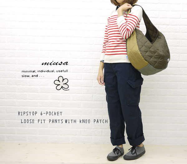 【お買い物するだけ20倍】【ミューザ miusa】RIPSTOP 6-POCKET LOOSE FIT PANTS WITH KNEE PATCH・NMSU1181R-0341102【レディース】【ボトムス】