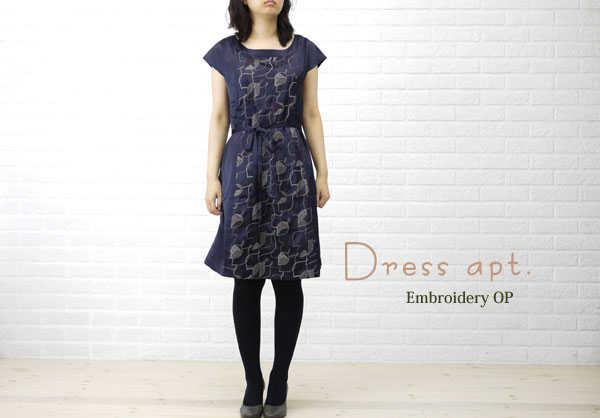 【ドレスアプト Dress apt.】サテン 刺繍 半袖 ワンピース・13773-1991202【レディース】【f】【ワンピース・チュニック】【50】