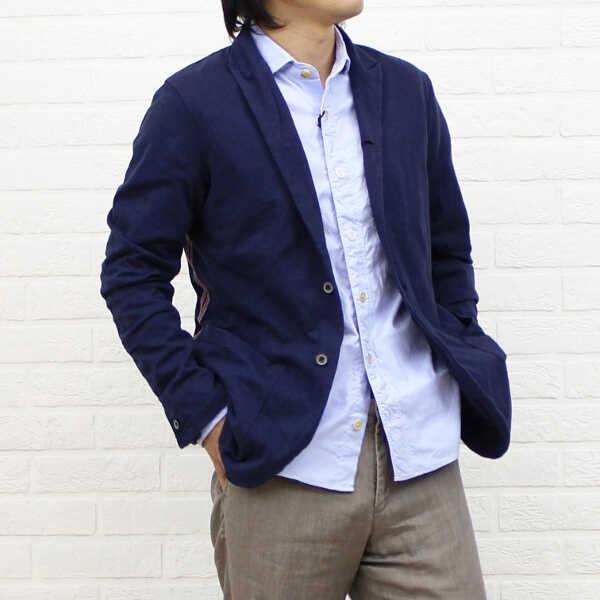 【トゥモローランド TOMORROW LAND】Blue Work コットンリヨセル 長袖 シャーリング ライン入り ジャケット・51-03-31-03012-0171301【メンズ】【アウター】【40】【last_1】