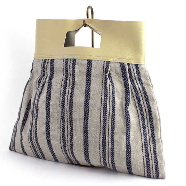 Linen Leather Stripe Pattern Handbag Todd Bag 334 111 1851401