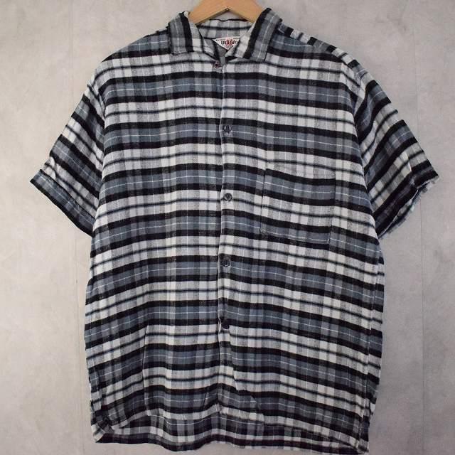 60's Rayon Flannel S/S Shirt 60年代 フランネルシャツ レーヨン 半袖 チェック柄 開襟 【古着】 【ヴィンテージ】 【中古】 【メンズ店】