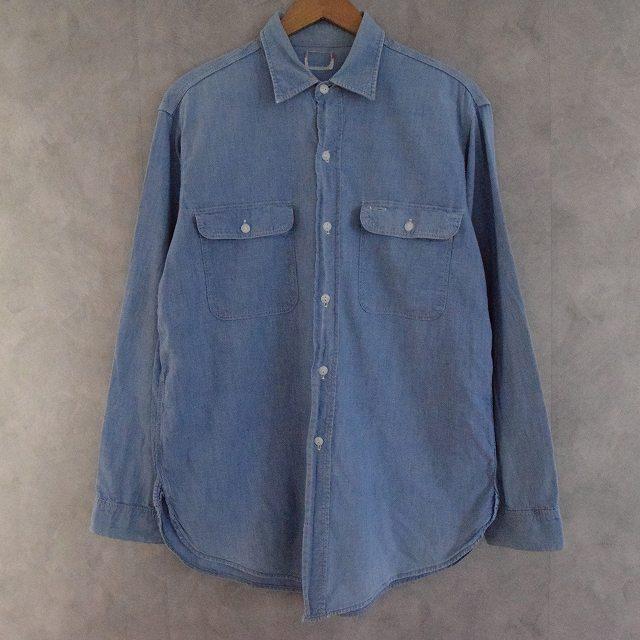 50~60's BIG MAC マチ付き Chambray Shirts 50年代 60年代 ビッグマック シャンブレーシャツ ストアブランド 猫目ボタン 【古着】 【ヴィンテージ】 【中古】 【メンズ】