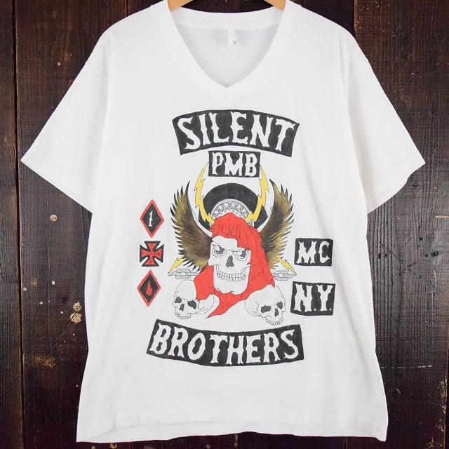 90's SILENT PMB BROTHERS ハンドペイントTシャツ XL 90年代 バイク 【古着】 【ヴィンテージ】 【中古】 【メンズ店】