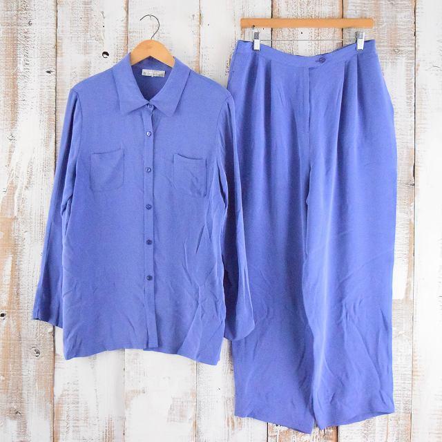 シルクシャツ×イージーパンツ SETUP カラーアイテム シルク セットアップ パジャマシャツ 【古着】 【ヴィンテージ】 【中古】 【メンズ】