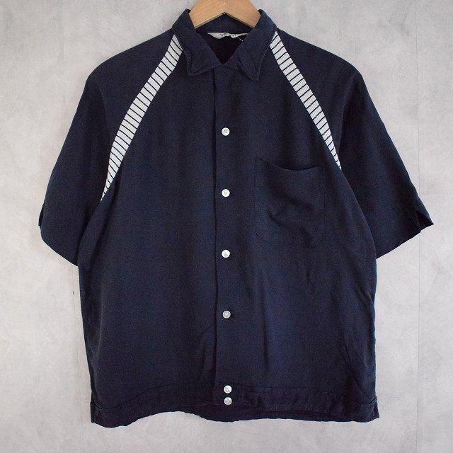 60's Dunbrooke チェーン刺繍 Bowling Shirt M 60年代 ラグランスリーブ ボーrングシャツ 紺 ネイビー 【古着】 【ヴィンテージ】 【中古】 【メンズ店】