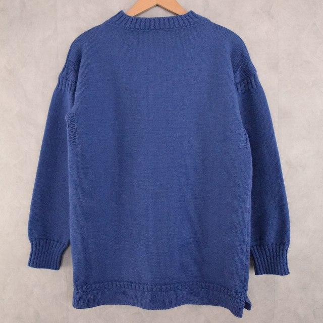 VINTAGE Guernsey Sweater Blue ガンジーセーター ブルー ウール 【古着】 【ヴィンテージ】 【中古】 【メンズ】