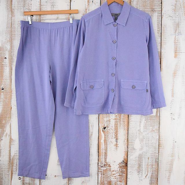 パステルカラー シャツ&イージーパンツ SETUP カラーアイテム 紫 パープル セットアップ 【古着】 【ヴィンテージ】 【中古】 【メンズ】
