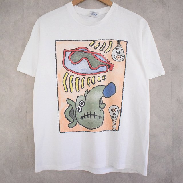 80's MEAT PUPPETS USA製 Band T-shirt L 90年代 アメリカ製 バンド バンT ミートパペッツ アート 白 ホワイト 白T white Tシャツ 半袖 【古着】 【ヴィンテージ】 【中古】 【メンズ店】