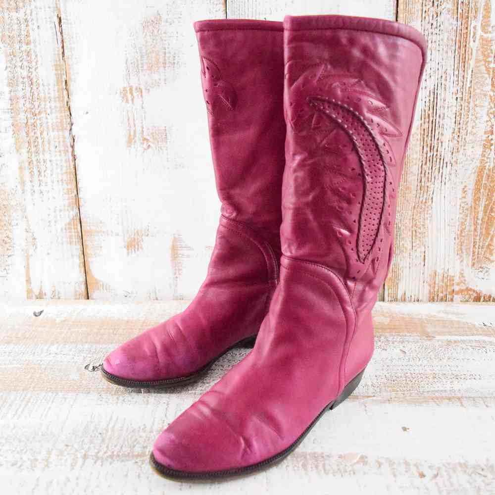 ◎ 【レディース】VINTAGE Crnold Churgin ITALY製 レースアップ レザーウエスタンブーツ 22cm イタリア ヨーロッパ ユーロ euro 本革 ピンク 靴