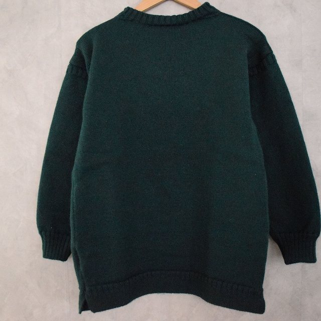 VINTAGE Guernsey Sweater Green ガンジーセーター ニット ウール グリーン 緑 【古着】 【ヴィンテージ】 【中古】 【メンズ】