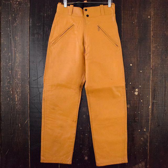 70's レザーパンツ W29 70年代 涙タロン 本革 スラックス 【古着】 【ヴィンテージ】 【中古】 【メンズ店】