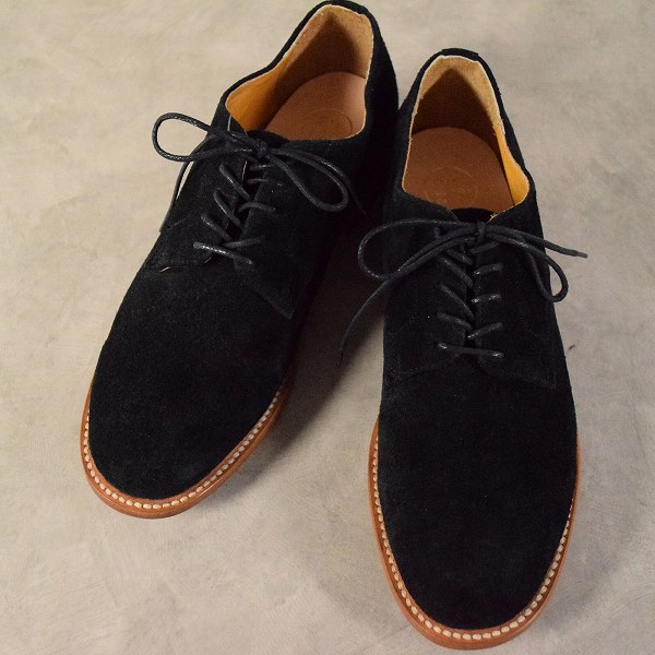 2120 Handcrafted Suede Shoes size9 箱付き ハンドクラフト スエードシューズ 革靴 黒 ブラック  【古着】 【ヴィンテージ】 【中古】 【メンズ】