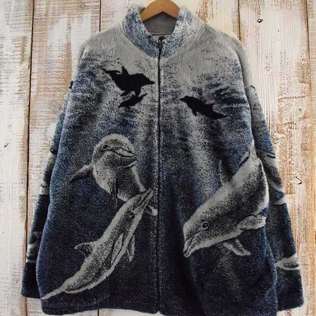 BLACK MOUNTAIN USA製 イルカ柄フリースジャケット XL ブラックマウンテン アメリカ製 アニマル ボア 【古着】 【ヴィンテージ】 【中古】 【メンズ】