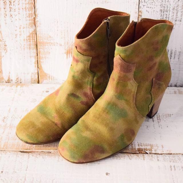 ◎ 【レディース】ISABEL MARANT FRANCE製 カモ柄キャンバス ショートブーツ イザベルマラン 靴 迷彩 シューズ